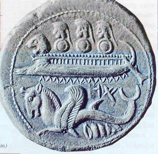 Barco de Guerra Sidonio, con cabeza de león.