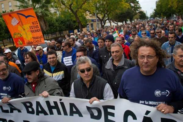 Manifestación de ex trabajadores de Delphi.
