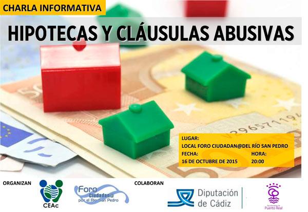 Consumidores europeos en acci n organiza una charla sobre for Que es clausulas suelo en hipotecas