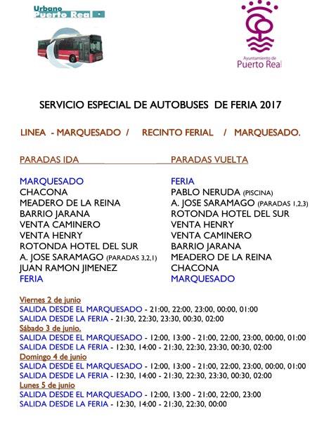 Horarios especiales de autob s urbano y del consorcio para for Horario correos puerto real
