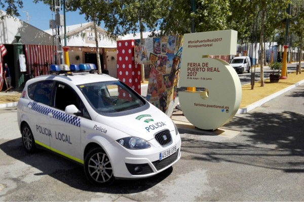 Coche de la policía local de Puerto Real en la pasada Feria