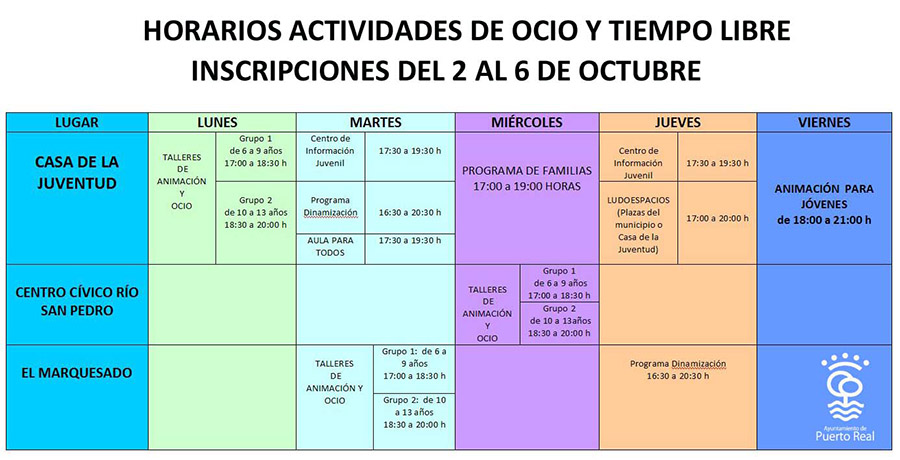 El ayuntamiento presenta la programaci n de tiempo libre for Horario correos puerto real
