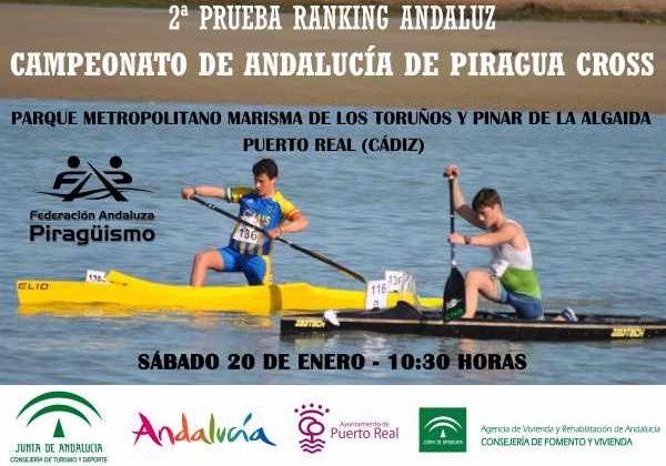 Cartel del Cto. de Andalucía de Piragua Cross en Puerto Real