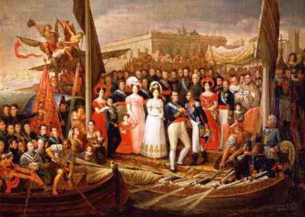 """Desembarco de Fernando VII en El Puerto de Santa María en 1823 tras su liberación por los """"Cien Mil Hijos de San Luis"""""""