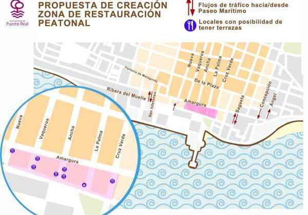 Zona de restauración peatonal a prueba por el Ayuntamiento de Puerto Real.