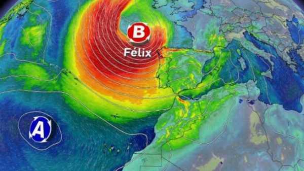 Borrasca Félix entrando por la Península Ibérica.