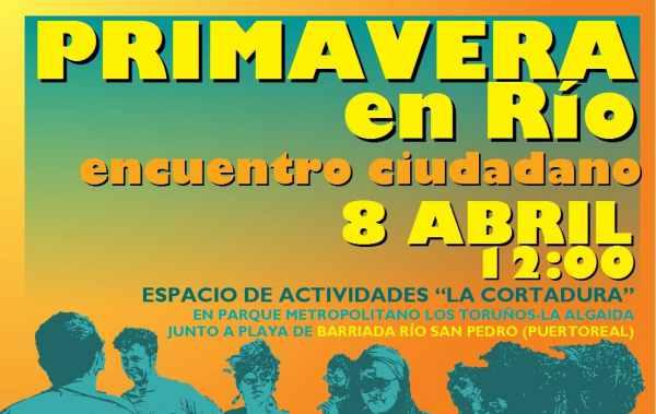Cartel de la fiesta de la Primavera en el Río San Pedro.