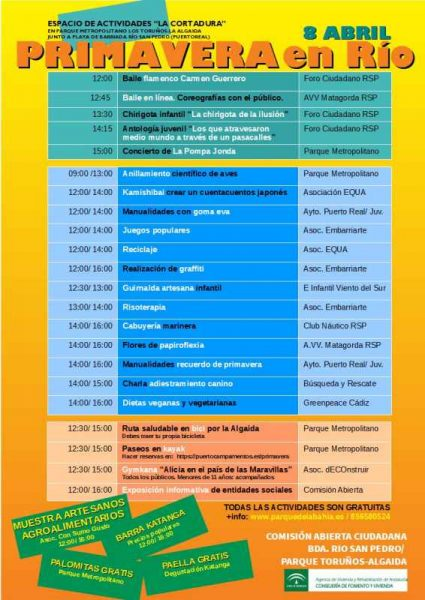 Programa de actividades en el Río San Pedro.