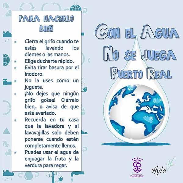 """Cartel del Taller, """"Con el Agua no se Juega""""."""
