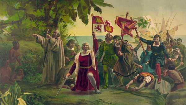 Cristóbal Colón en su llegada a América.