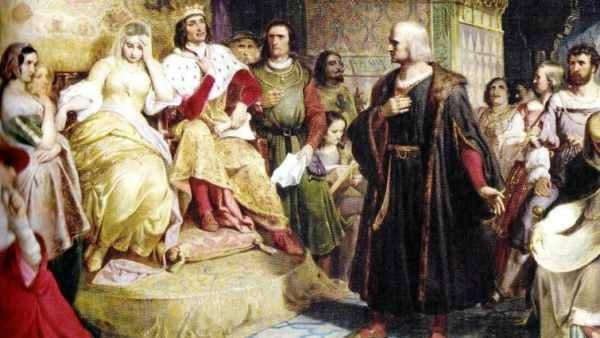 Cristóbal Colón junto a los Reyes Católicos.