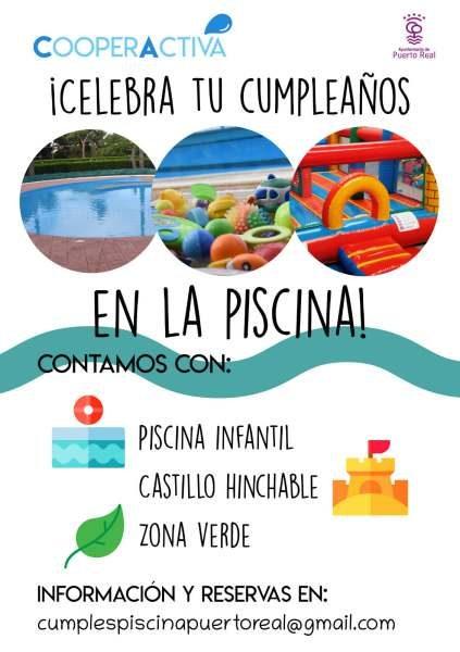 Celebración de cumpleaños en la Piscina de Verano de Puerto Real.
