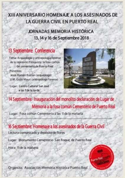 Cartel de Jornadas de Memoria Histórica.