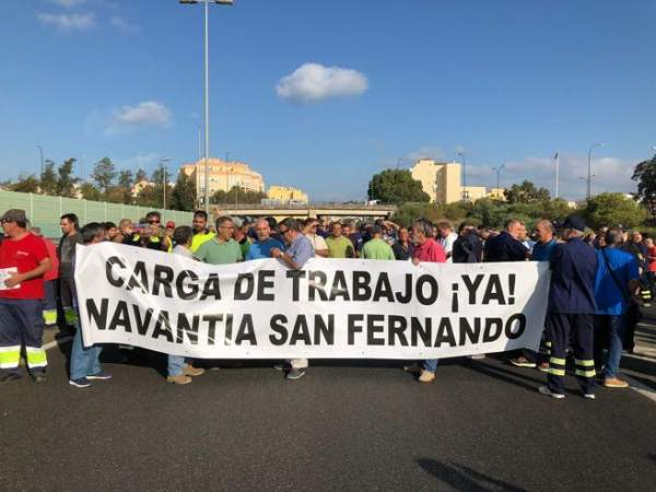 Manifestaciones de trabajadores de Navantia en San Fernando.