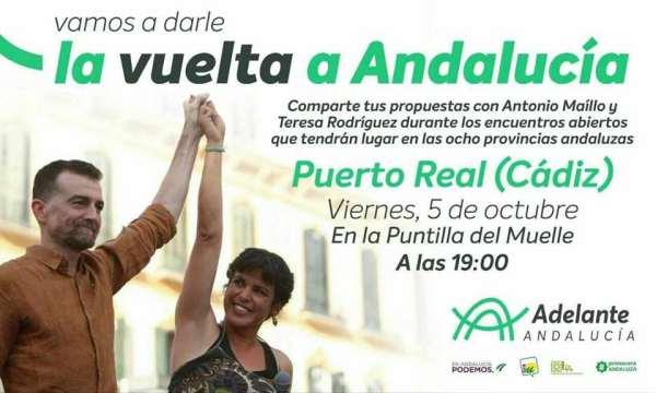 Teresa Rodríguez y Antonio Maíllo estarán en Puerto Real.