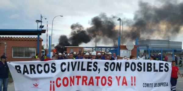 Los trabajadores de Navantia Puerto Real de protesta.