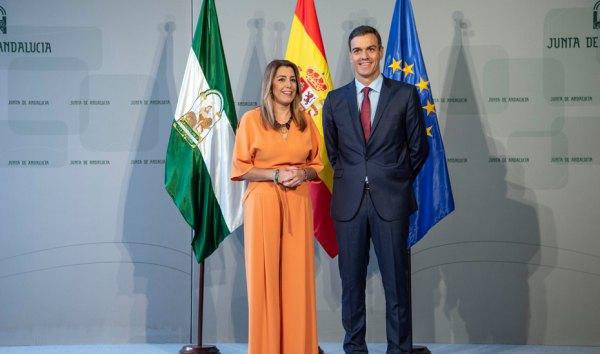 Susana Díaz y Pedro Sánchez en la reunión de Sevilla.
