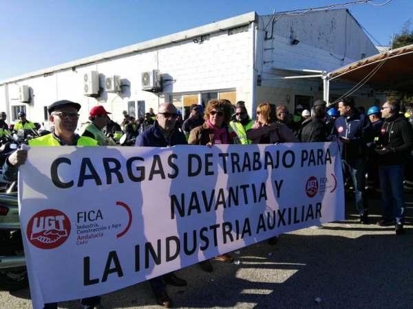 Pancarta de los trabajadores de Navantia y la Industria Auxiliar.