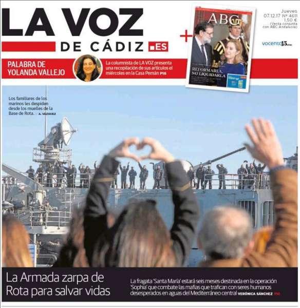 Portada de La Voz de Cádiz con la foto premiada de Antonio Vázquez.