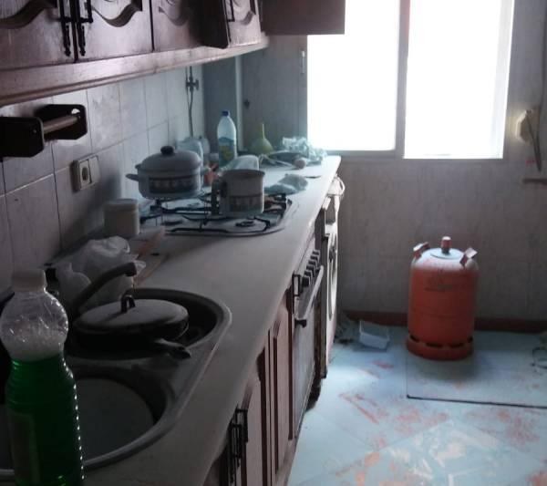 Cocina en la que se originó el incendio en Puerto Real.