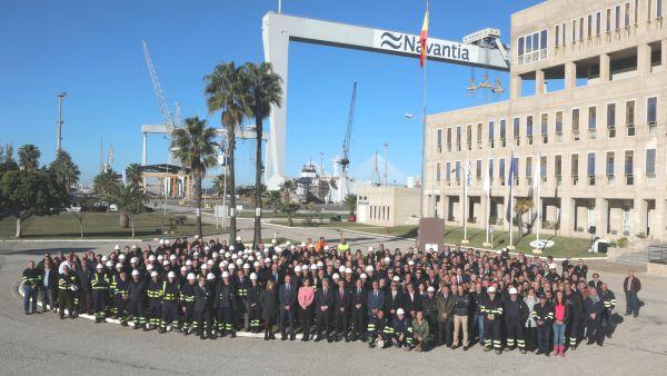 Los trabajadores de Navantia en la celebración del 140 aniversario del Astillero.