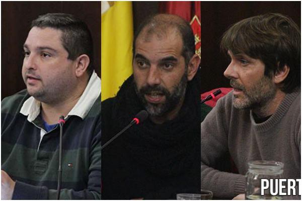 José Alfaro (IU), Antonio Romero (Podemos) y Alfredo Charques (EQUO)
