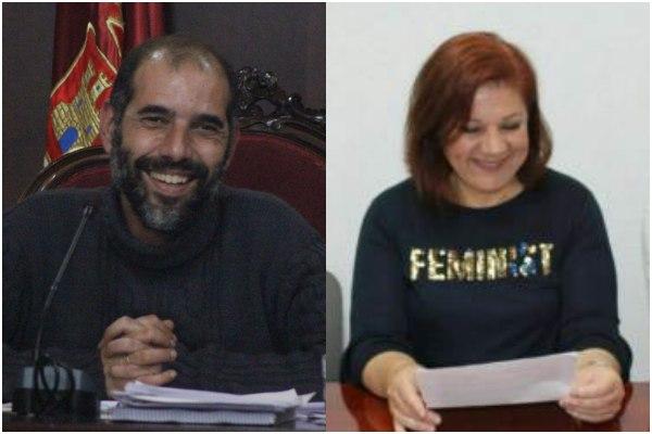 Antonio Romero, Alcalde de Puerto Real, y Ascen Ruiz, Secretaria General de Podemos.
