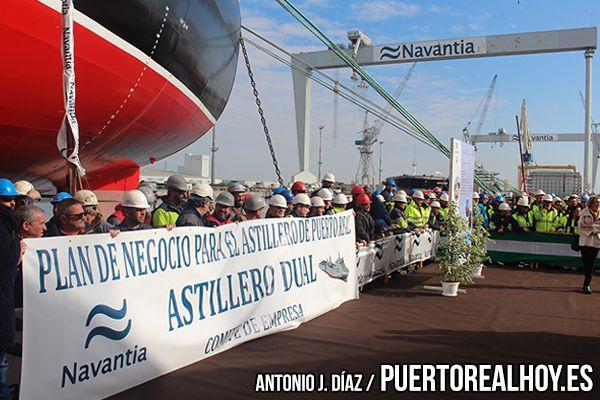 Los trabajadores de Navantia Puerto Real en su protesta.