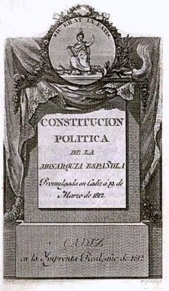 "Portada de la Constitución de Cádiz de 1812, ""La Pepa"""