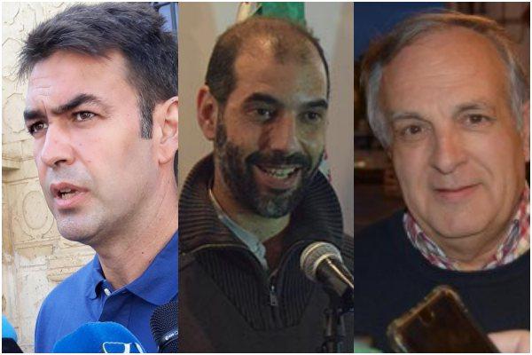 Joaquín Bellido (AxSí), Antonio Romero (Adelante), y Vicente Fernández (PP Puerto Real)