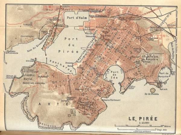 Mapa de El Pireo año 1908. Base hipodámica.