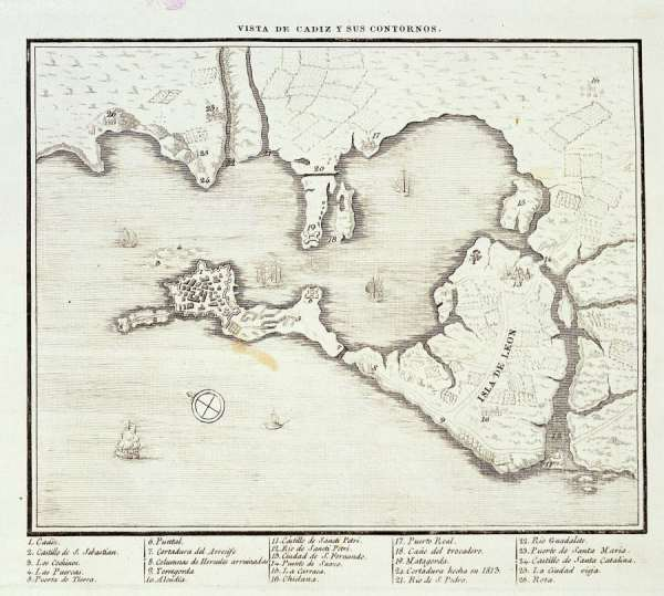 Plano de la Bahía de Cádiz