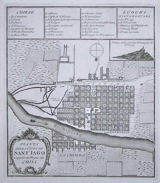Plano de la Ciudad de Santiago de Chile en el Siglo XVIII.
