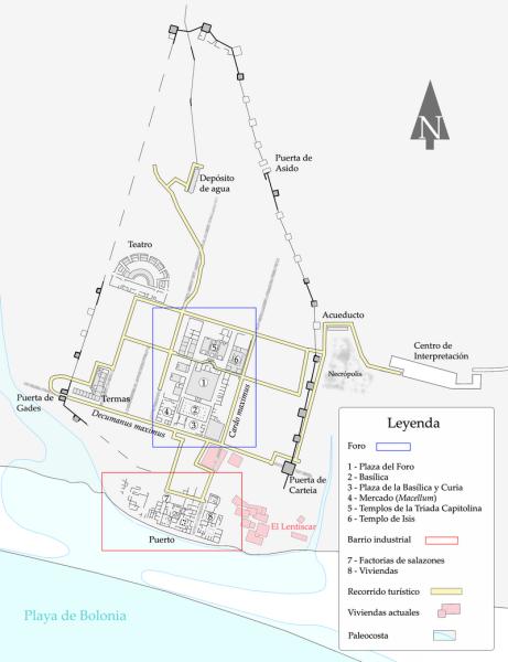 Plano de la ciudad romana de Baelo Claudia. Tarifa.